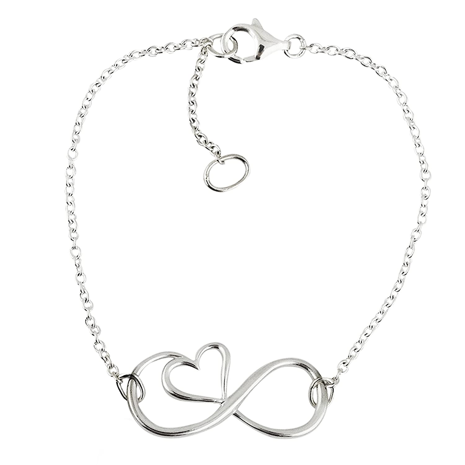 FashionJunkie4Life 8 Sterling Silver Infinity Sign with Heart Chain Link Bracelet