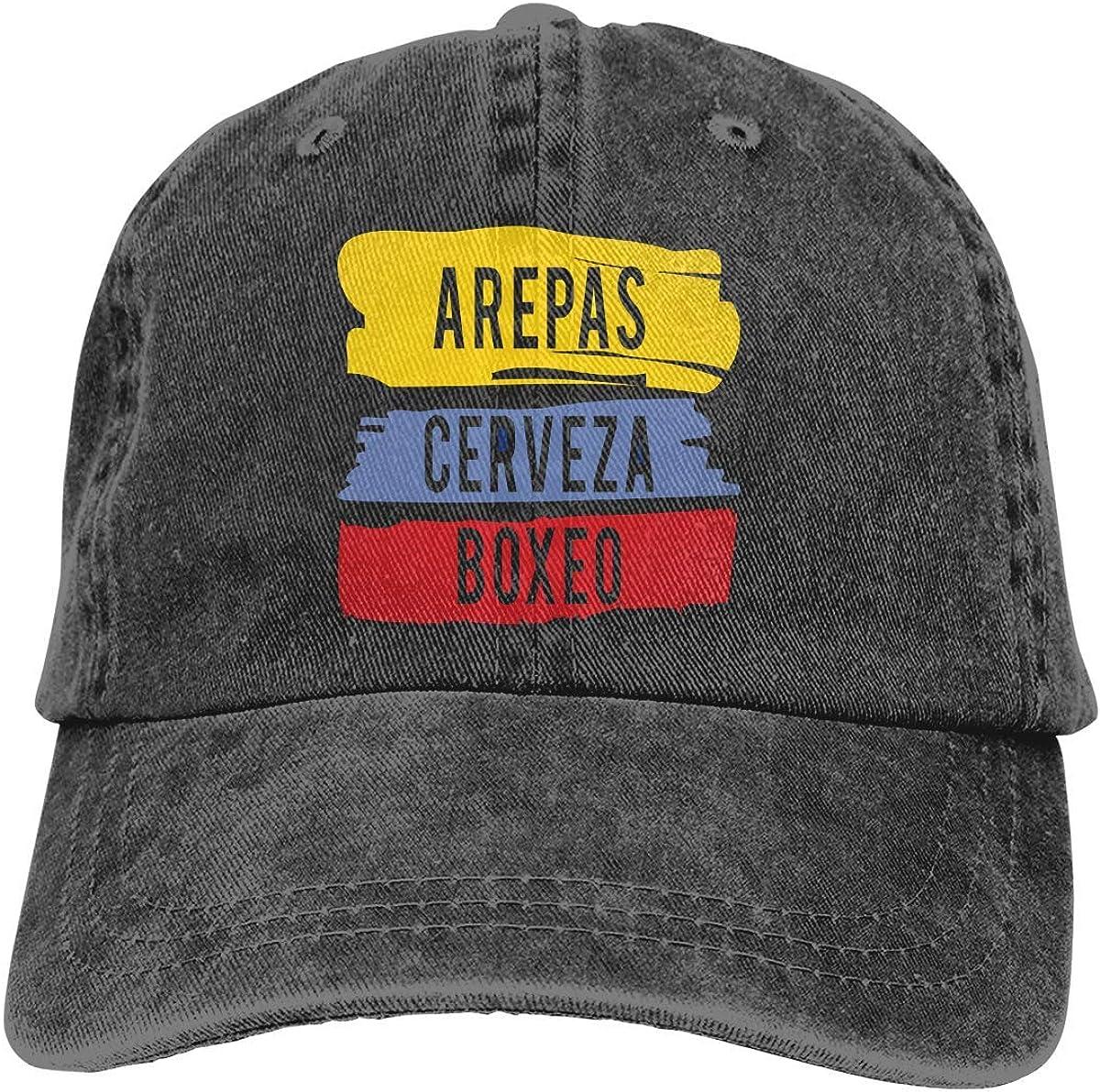 RFTGB Gorras Unisex Accesorios Sombreros Gorras de béisbol Sombreros de Vaquero Arepas Cerveza Boxeo Denim Baseball Cap, Unisex Vintage Dad Hat, Golf Hats, Adjustable Plain Cap