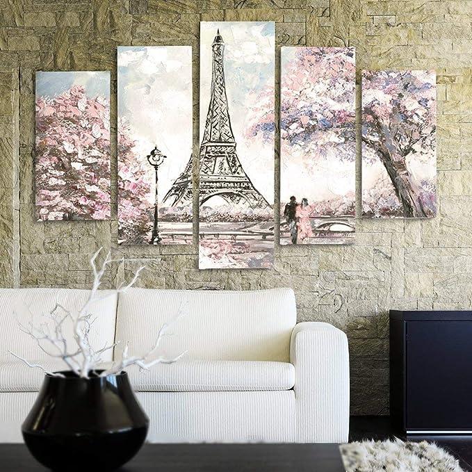 Kunstdruck XXL 5 Teile Wand Bild Landschaft Feeby 5-Teilig Natur Paris Leinwandbild BÄUME 200x100 cm Typ C Farbe Wandbilder Eiffelturm Bilder Park Kunst