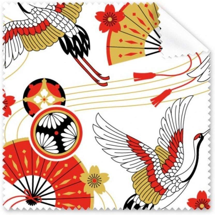 Grúa plegable ventilador Sakura patrón gafas paño de limpieza paño limpiador de regalo teléfono Protector de 5unidades