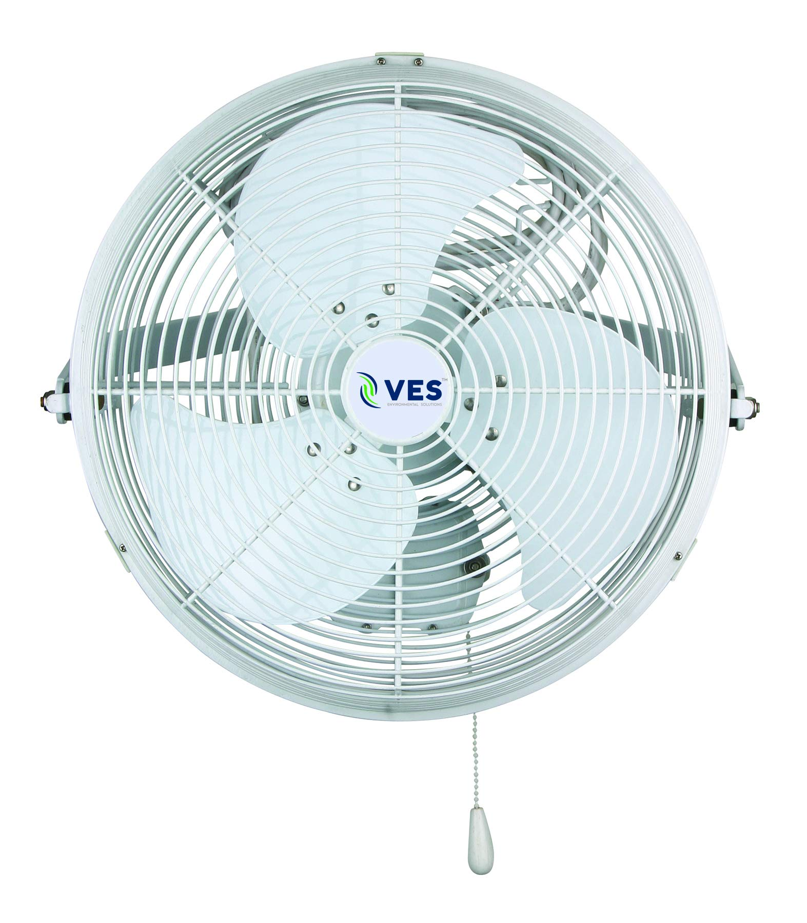 VES Outdoor Moisture Resistant Wall/Ceiling Mount Shop Fan/Industrial Basket Fan for Cooling and Ventilation (18 inch, White) by VES Environmental Solutions