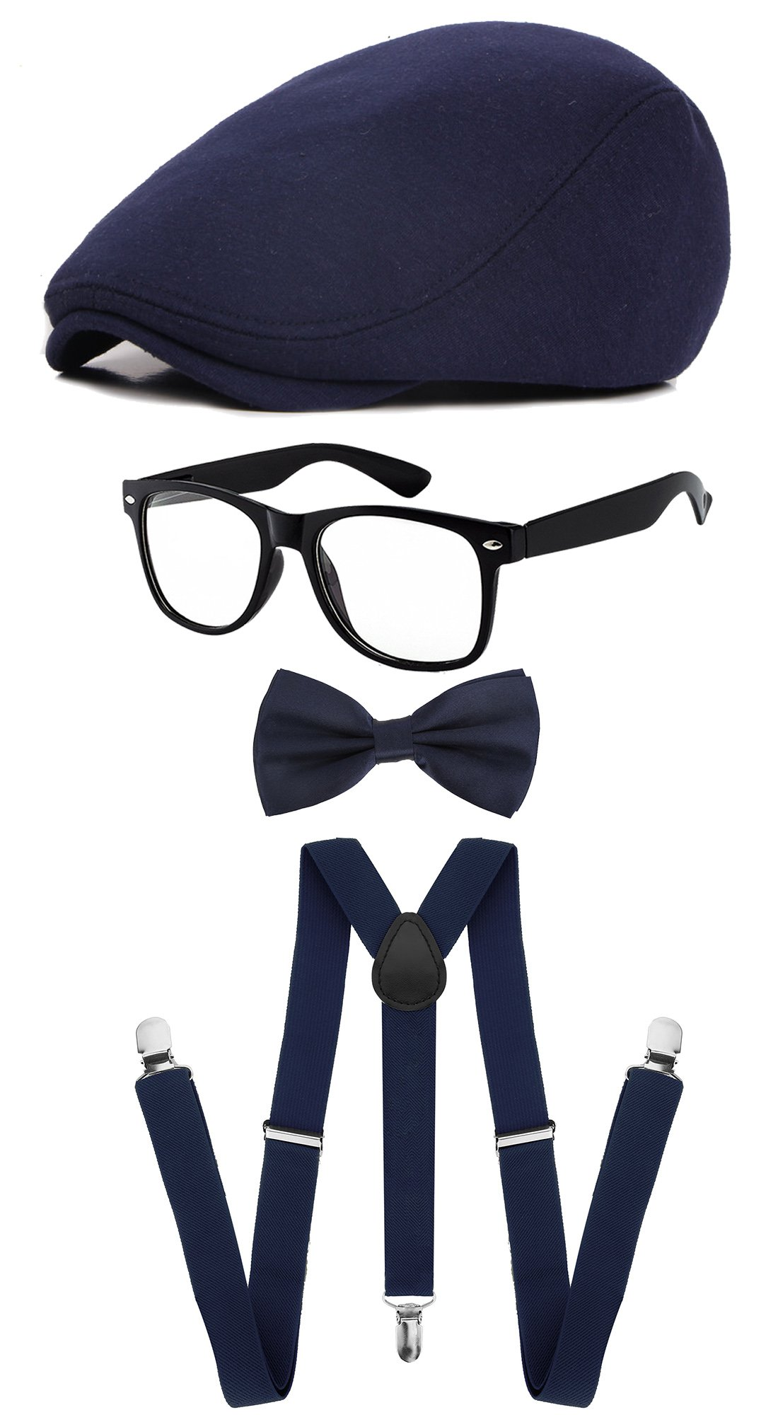 Classic Gatsby Newsboy Ivy Hat,Suspenders Y-Back Trouser Braces,Pre Tied Bow Tie,Non Prescription Glasses (Cotton - Navy)