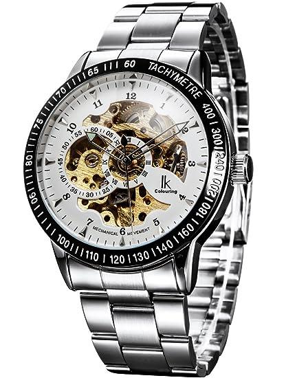 Alienwork IK Reloj Mecánico Automático Relojes Automáticos Hombre Mujer Acero Inoxidable Plata Analógicos Unisex Blanco Impermeable: Amazon.es: Relojes