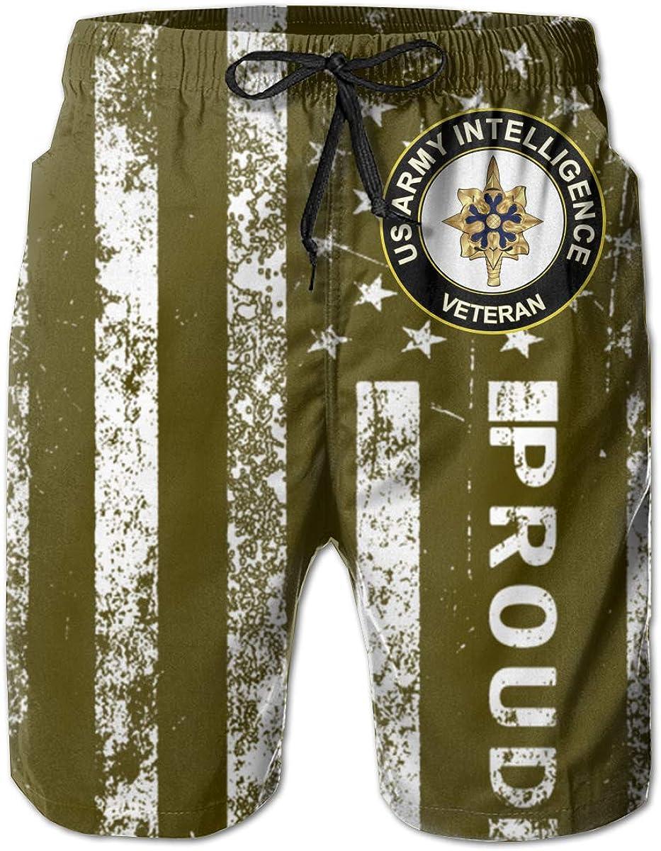 HANINPZ US Army Veteran Intelligence Mens Swim Trunks Beach Short Board Shorts
