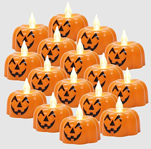 Pumpkin Flameless Tea Candles Light LED Face Tealight Pack of 40 Battery Operated Flickering Fake Electric Mini Plastic Candle Warm Yellow for Halloween Holiday Party Outdoor Decor Lantern Bucket