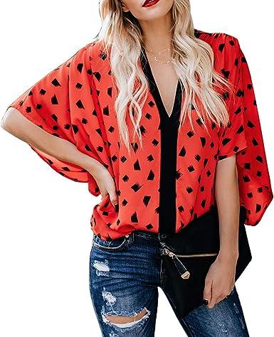 Moda para Mujer Camisa Suelta con Cuello Alto Manga Corta con Cuello en v Blusa Informal: Amazon.es: Ropa y accesorios