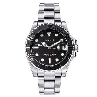 PARNIS 2164 deportivo de hombre automático reloj beiseitig giratoria cerámica Bisel Cristal de zafiro Caja de acero inoxidable 316L Pulsera y 5 bar ...