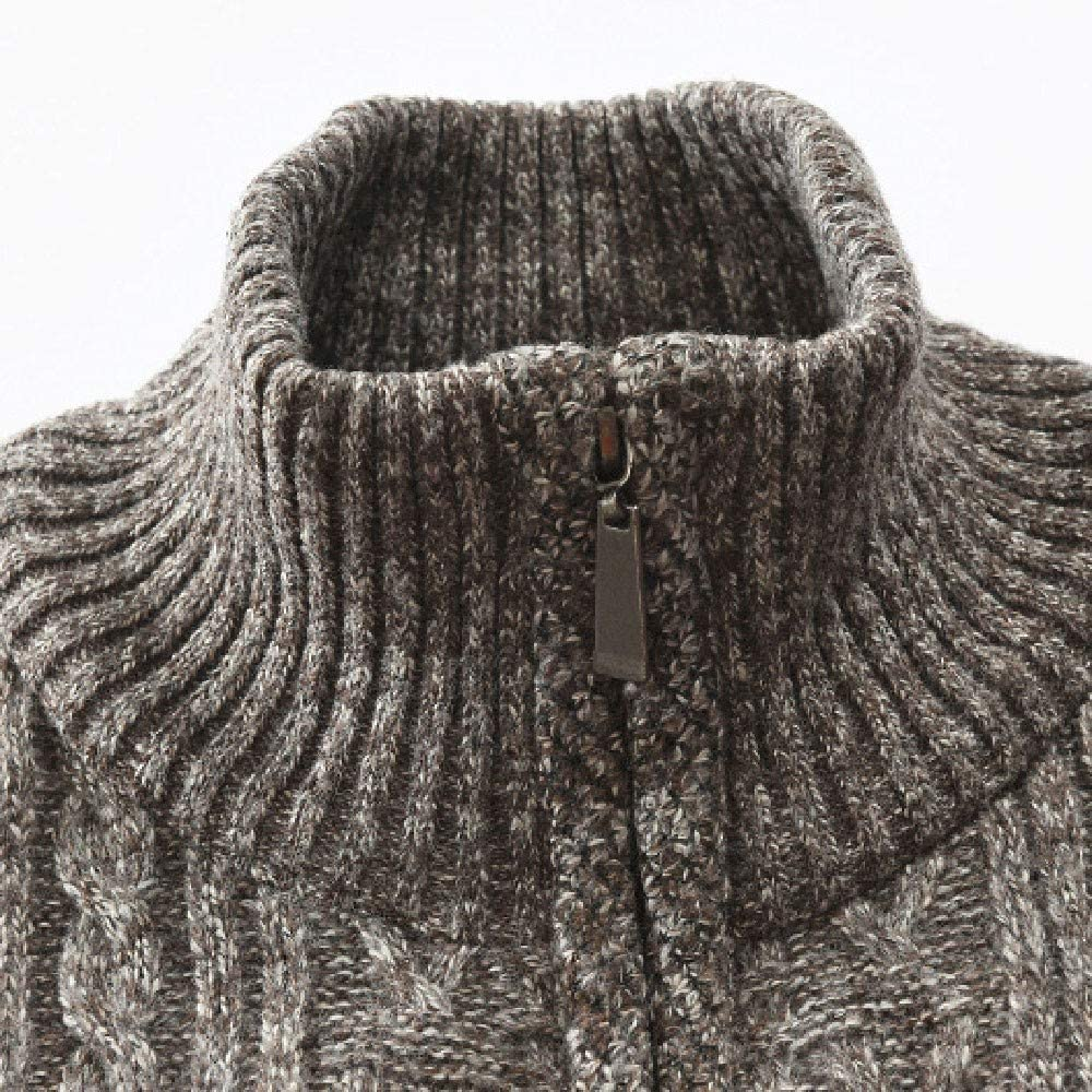 eipogp Mens Casual Slim Fit Full Zip Up Fleece Lined Stand Collar Cardigan Knitted Cable Sweaters Coats Jacket with Pocket