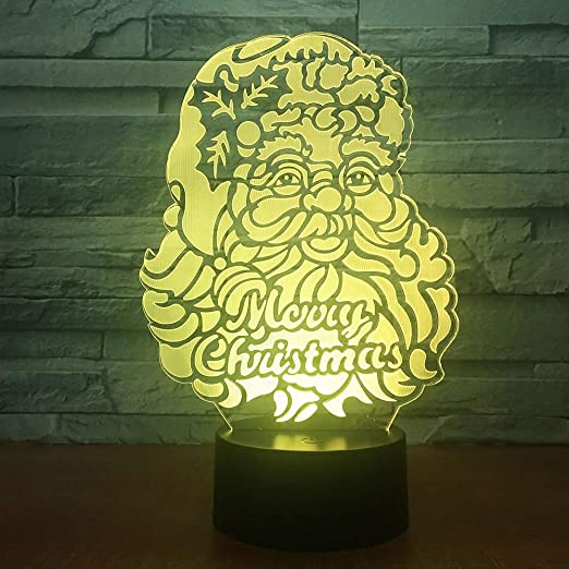 7 colores cambiantes luz de noche 3D creativo Santa Claus Visual ...