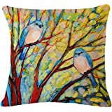 Oil Painting illustration Vibrant Kind of birds Cotton Linen Throw Pillow Case Cushion Cover Home Sofa Couch Decorative 18 X 18 Inch (2)