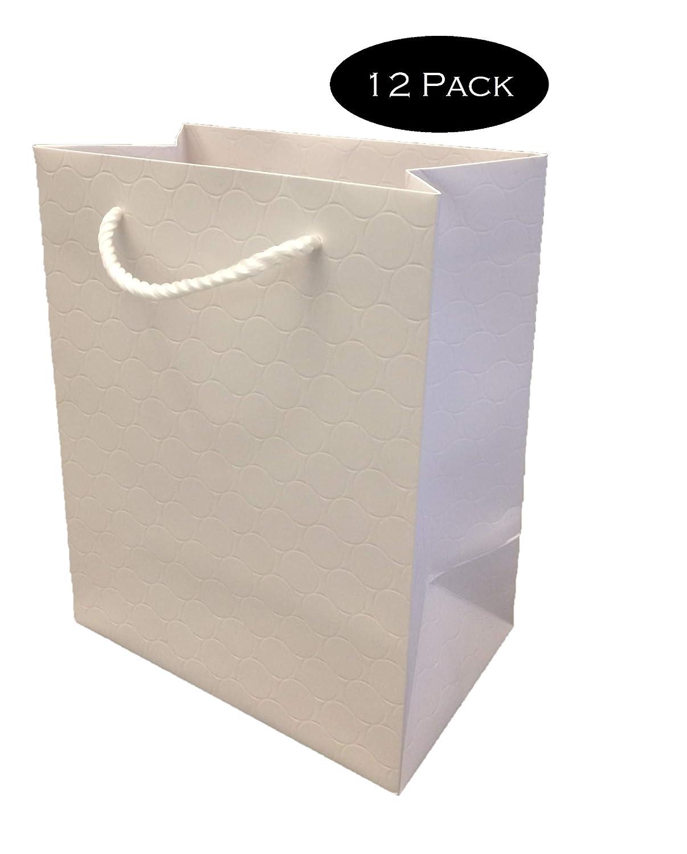 Modeeni White Gift Bags With Handles Bulk Medium 120 Pack Wholesale 8x5x10 Premium Quality 250 G