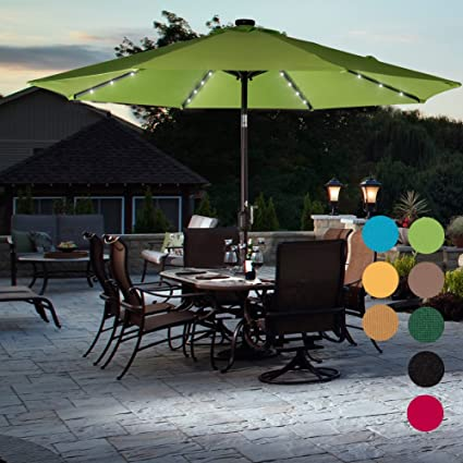 Sundale Outdoor Solar Powered 32 LED Lighted Patio Umbrella Table Market  Umbrella With Crank And Push