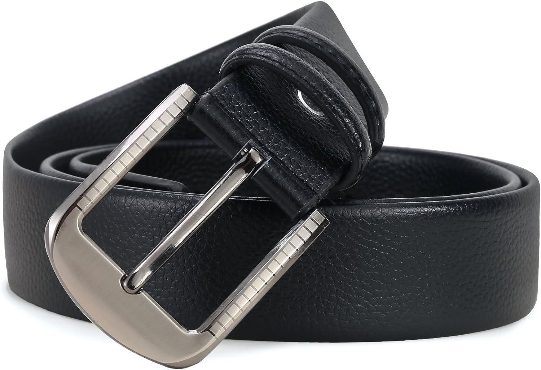Classic Metal Buckle Microfiber Leather Belt Ayli Mens Dress Belt
