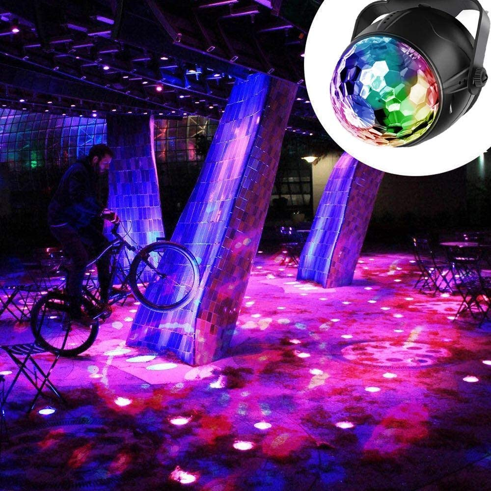 Sound Activated LED Disco Ball Lights with 3M USB Power Cable Party,Wedding,Club 7 Colours DJ Lights RGB Party Lights with Remote Control//Fixed Bracket for Kids Birthday Yizhet Disco Lights