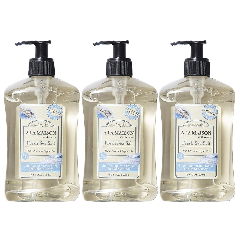 A La Maison de Provence Liquid Hand Soap   Fresh Sea Salt Scent   French Milled Moisturizing Natural Hand Soap   in 16.9 oz. Pump Bottles   (3 Pack)