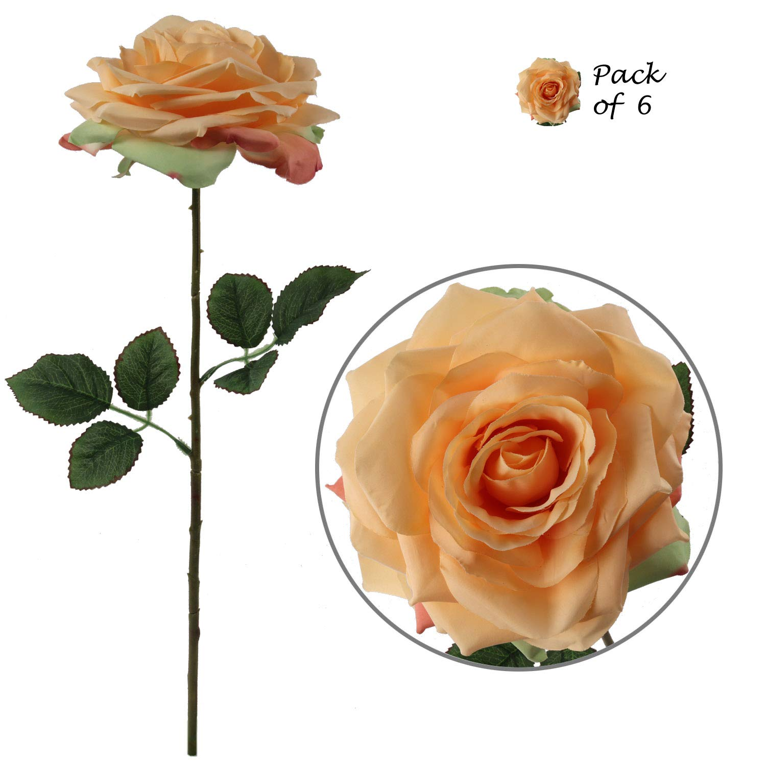 "Larksilk Premium Apricot Silk Artificial Roses for Bridal Bouquet, Wedding or Party Centerpiece Flower Decoration - Six Roses with 20"" Long Stems"