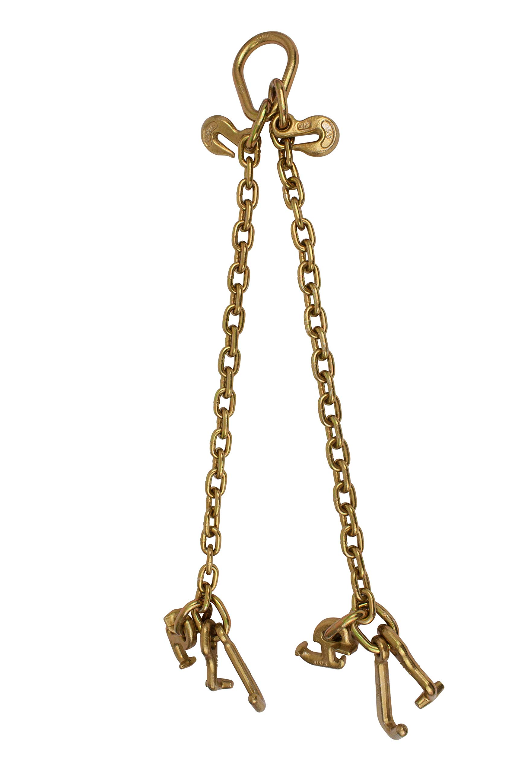 G70 V-Chain Bridle w/RTJ Cluster Hooks and Grab Hooks, 2' Legs Tow Chain 4700 WLL