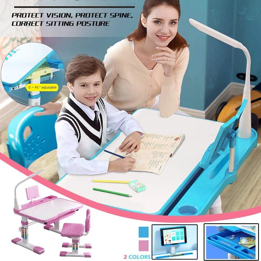 Skort Desk and Chair Set for Kids 8-12 Years Old Height Adjustable Children Study Desk with Desk Lamp for Bedrooms