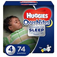 HUGGIES OVERNITES, Night Time, Baby Diapers, Size 4, 74ct