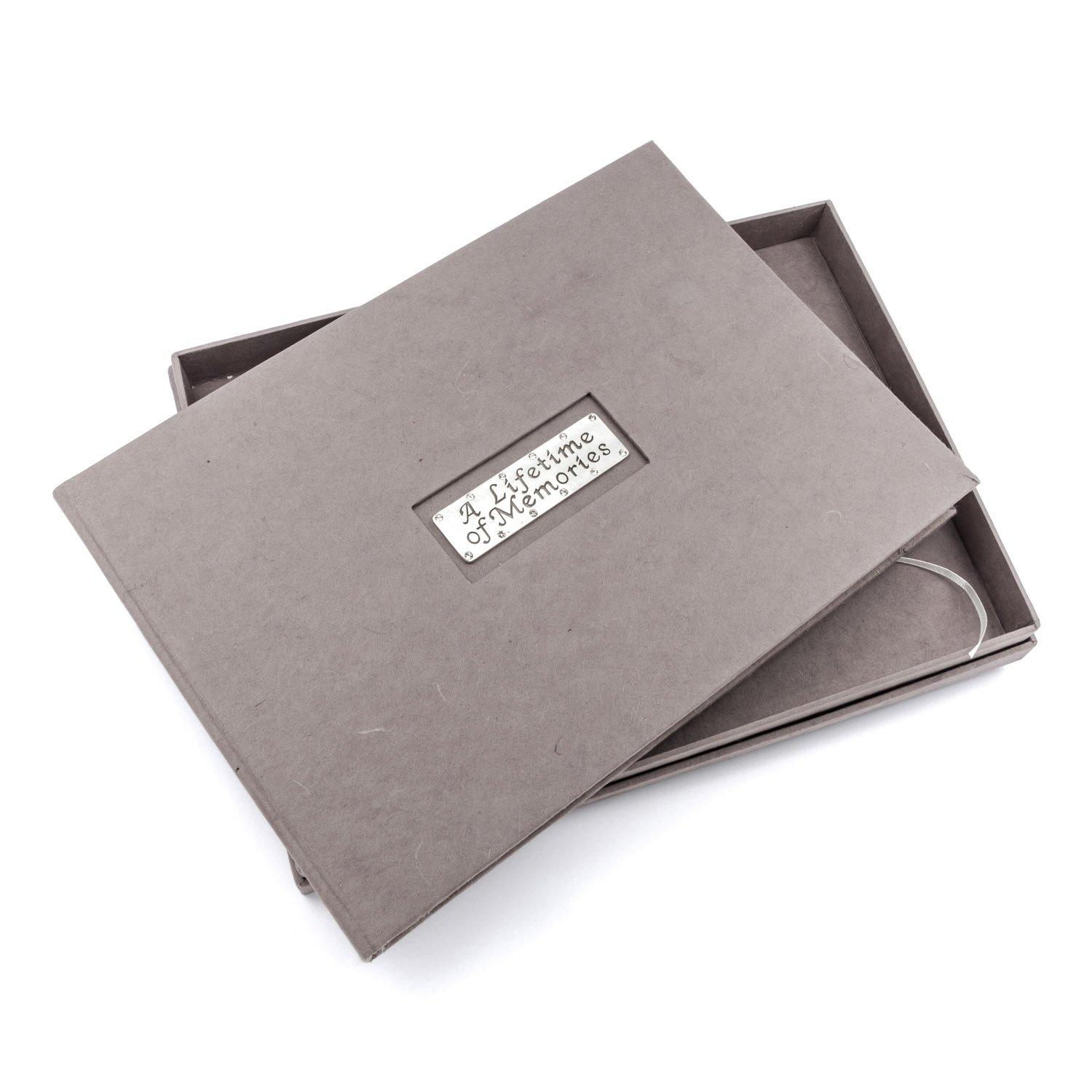 In Memory Funeral Condolence A4 size grey guestbook with presentation box Metal Planet