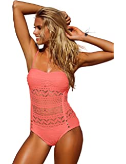 70f9a6586385f GRAPENT Women Lace Crochet Halter Strap One-Piece Bathing Suit Swimsuit  Swimwear