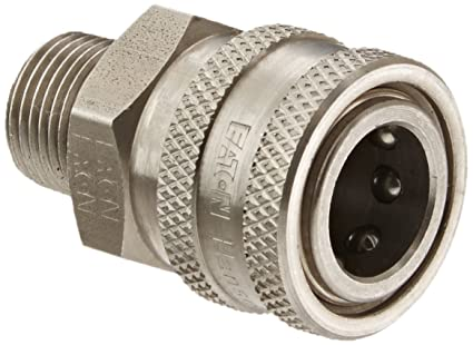 Eaton Hansen LL4S26143 Stainless Steel 303 Straight Through Ball Lock Hydraulic Fitting 1//2 Body 1//2 Port Size Fluorocarbon Seal 1//2-14 NPTF Female Socket