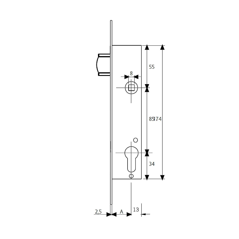 Set de 1 Pieza 221625AI Cerradura Monopunto para Perfiles Met/álicos Entrada 30mm Inox Tesa Assa Abloy