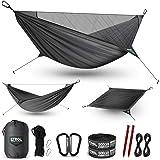 ETROL Hamaca de Camping, Hamaca de luz Mejorada con mosquitero y Correa de árbol, diseño de Cuerda de Soporte portátil y Tela