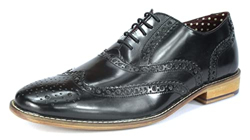 14bc5120c75cc London Brogues Gatsby Shiny Black Leather Mens Brogue Shoes, Size 11