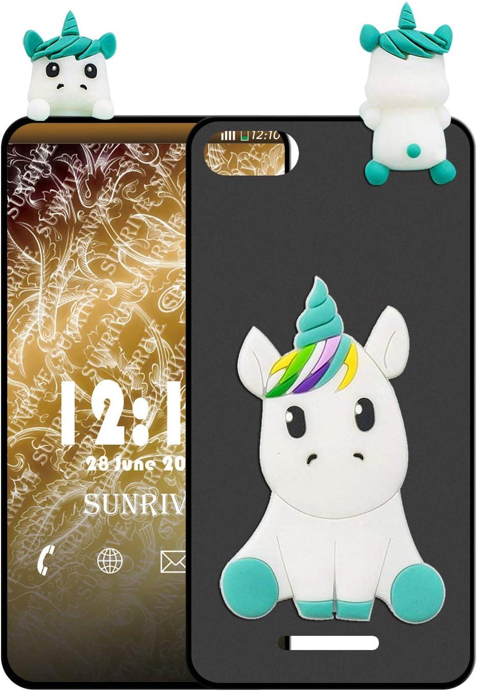 Sunrive Funda para XIAOMI MI 4C, Silicona Mate Funda Slim Fit Gel 3D Carcasa Case Bumper de Impactos y Anti-Arañazos Espalda Cover(W1 Unicornio 1) + 1 x Lápiz óptico