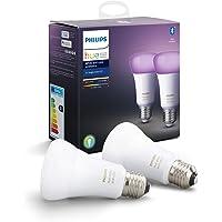 Philips Hue Pack de 2 Bombillas Inteligentes LED E27, con Bluetooth, Luz Blanca y Color,…