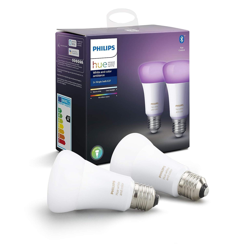 una Philips Hue White bombilla LED inteligente E27 compatible con Bluetooth y Zigbee Homix Termostato inteligente con Alexa integrada luz blanca c/álida