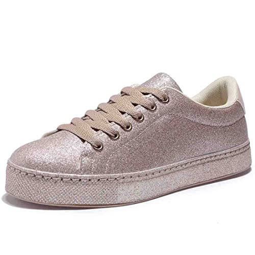 48174b91dd BTDREAM Women s Glitter Fashion Sneaker Quilted Lace Up Metallic Sequins  Stylish Shoes Gold Size 36