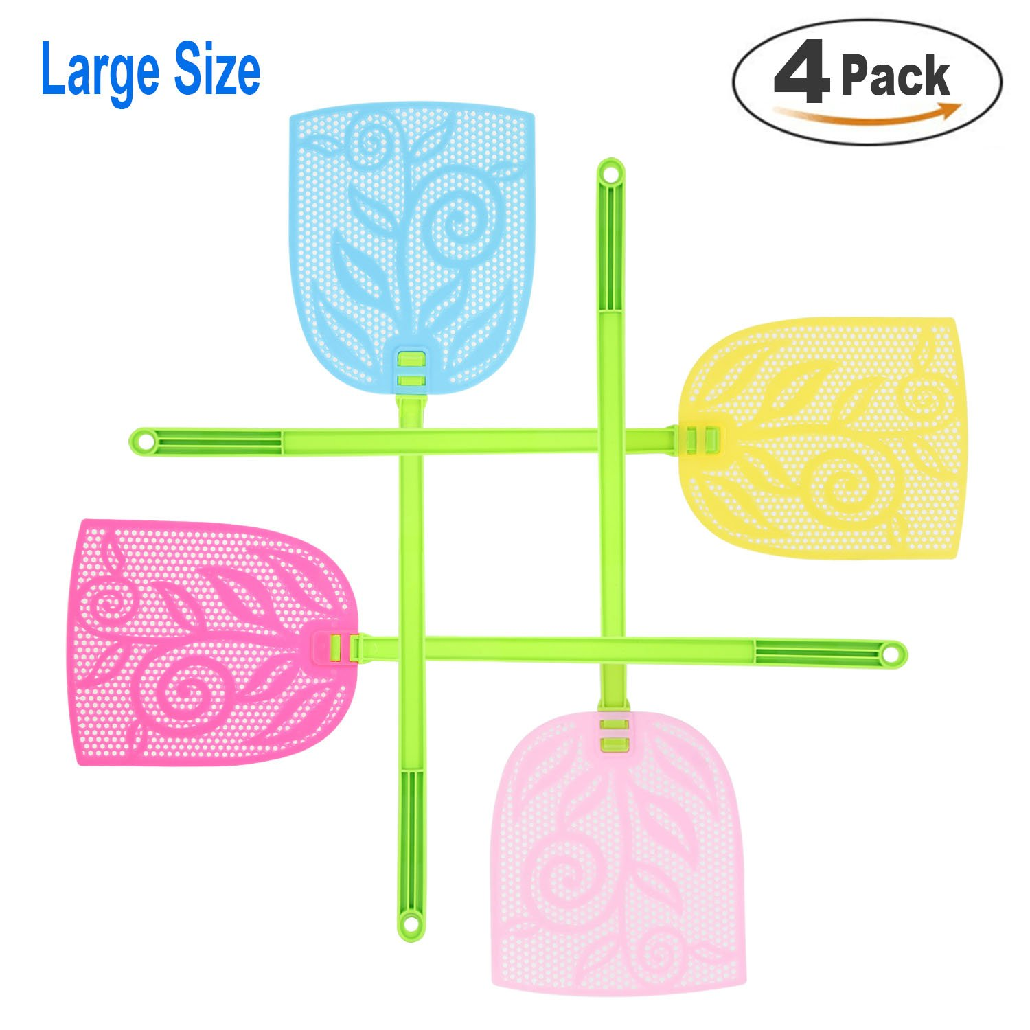 Fly Swatter 23.6 inch Extra Long Handle Durable Soft TPU+Plastic Pest Control,6.3 inch by 7.5 inch Striking area, 4 Sweet Colors 4 Pack (4)
