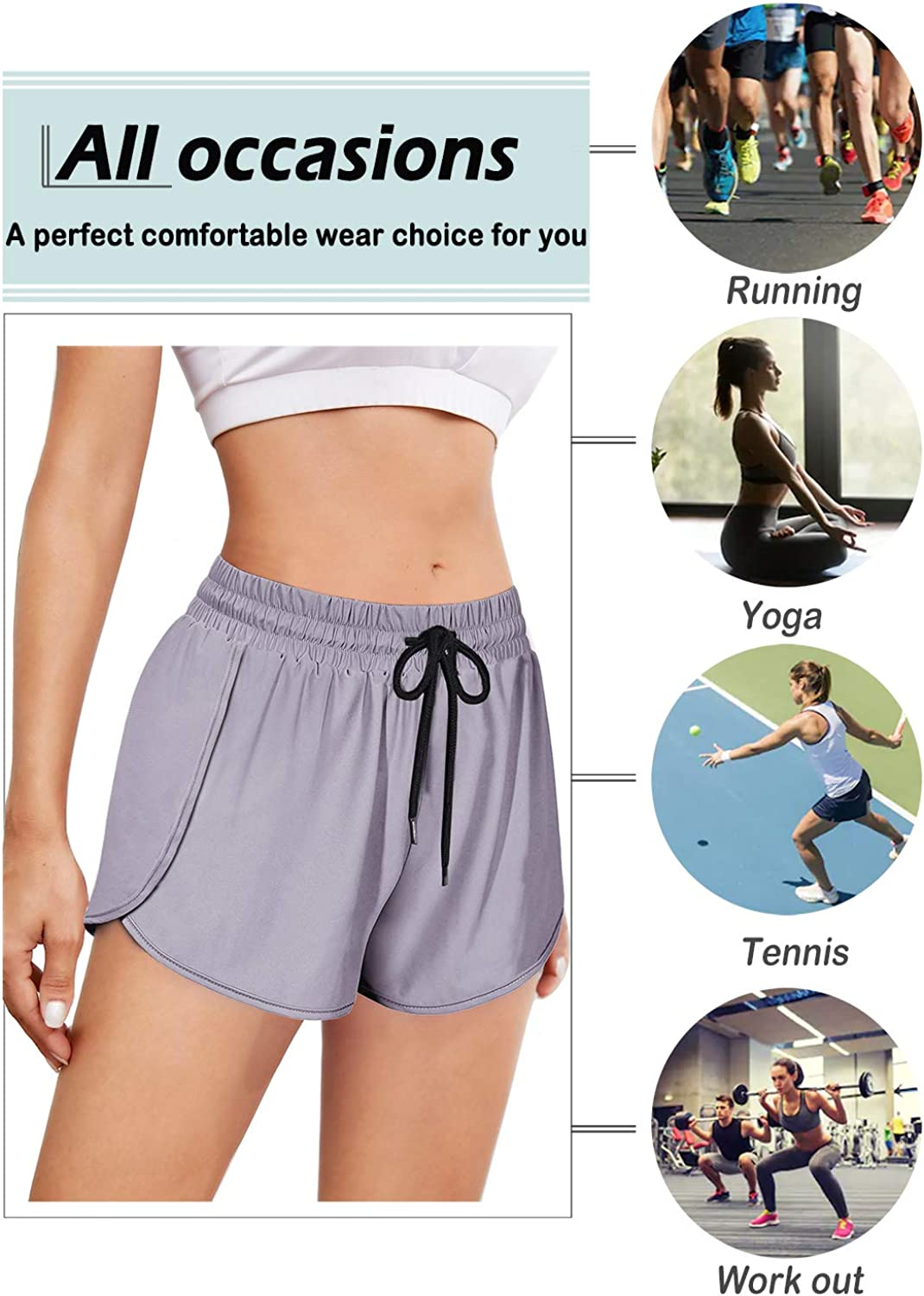 Yakestyle Gym Shorts for Women Soft 2 in 1 Yoga Workout Short for Teen Girls Running Activewear Short with Spandex Liner High Elastic Fitness Basketball Short Black M