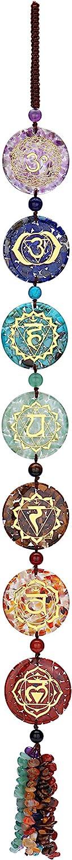 Jovivi 7 Chakra Reiki Healing Crystals Hanging Ornament Tumbled Gemstones Tassel Spiritual Meditation Wall Hanger Window / Feng Shui Ornament