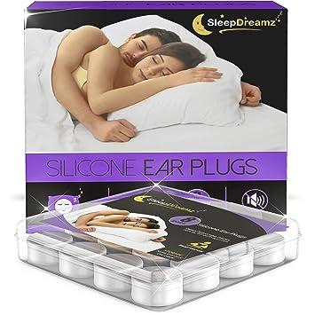 SleepDreamz® Silikon Ohrstöpsel (8 Paar) – Gehörschutzstöpsel mit hoch Dezibel Lärmschutz – Ohrstöpsel Schlafen, die Schnarch