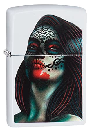 Zippo día de el Muertos Lady Tatuaje Resistente al Viento más Ligero – de Color Blanco