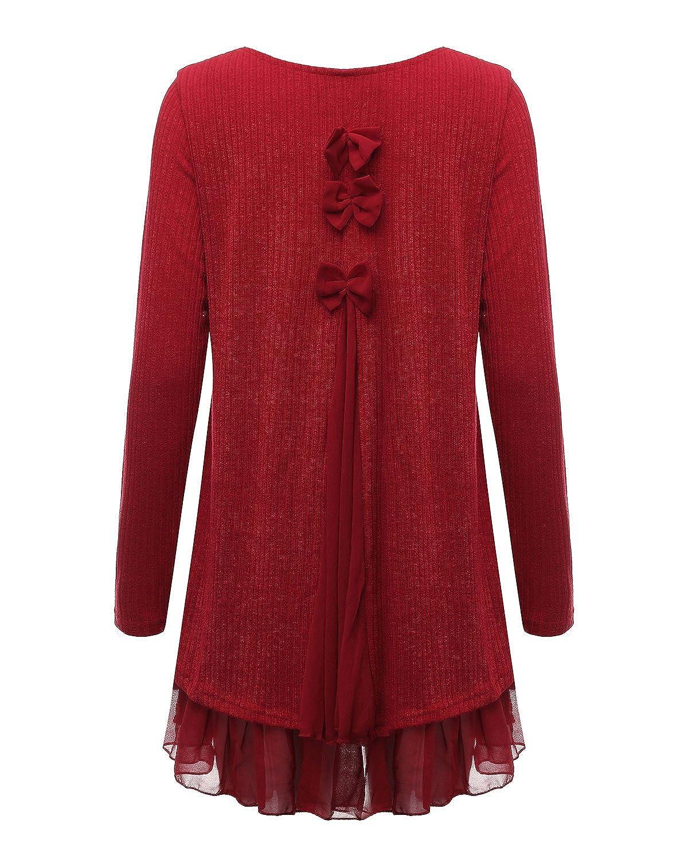 Zanzea Femme Sweater Tricot L/âce Manche Longue Haut Pull Mini-Robe Cardigan Sweats