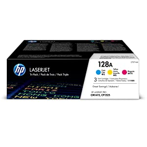 HP 128A | CE321A, CE322A, CE323A | 3 Toner Cartridges | Cyan, Yellow, Magenta