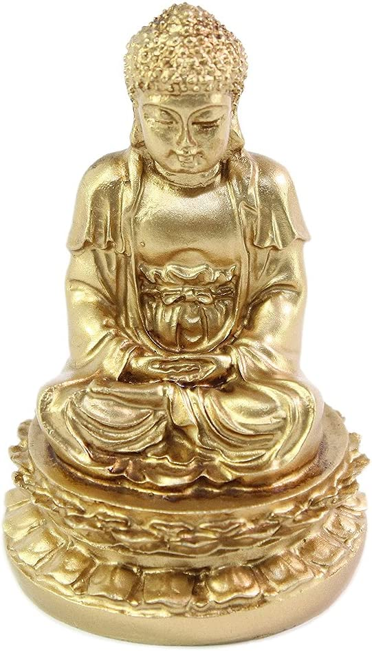 "We pay your sales tax Feng Shui 2"" Gold Meditating Buddha Figurines Peace Luck Prosperity Statues Paperweights Gift Home Decor Housewarming Gift"