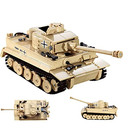Wolfbush 995Pcs Tank Building Bricks Toy Compatible for Main Building Block Brands, Military Tiger Tank Series Building Block Toy for Kids Aged 6+: Toys & Games