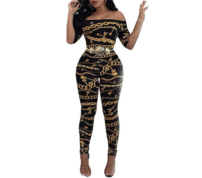 c9fea1f59988 Amazon.com  Mainstream Elegant Rompers Womens Jumpsuit Off Shoulder Chain  Print Jumpsuit Short Sleeve Bodycon Rompers Pants Black  Clothing