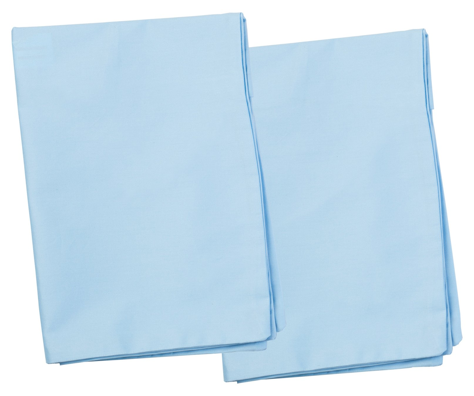 2 Blue Toddler Pillowcases - Envelope Style - For Pillows Sized 13x18 and 14x19 - 100% Cotton With Soft Sateen Weave - Machine Washable