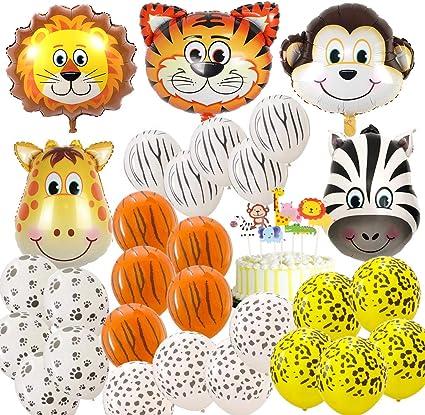 Amazon.com: Globos de animales de safari de la selva, 69 ...