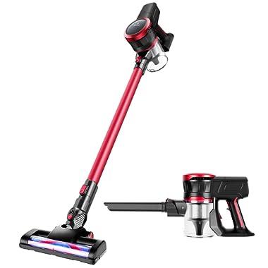 MOOSOO Cordless Vacuum Cleaner 17Kpa Strong Suction 2 in 1 Stick Vacuum Ultra-Quiet with Handheld Vacuum Cleaner Multiple Brush K17