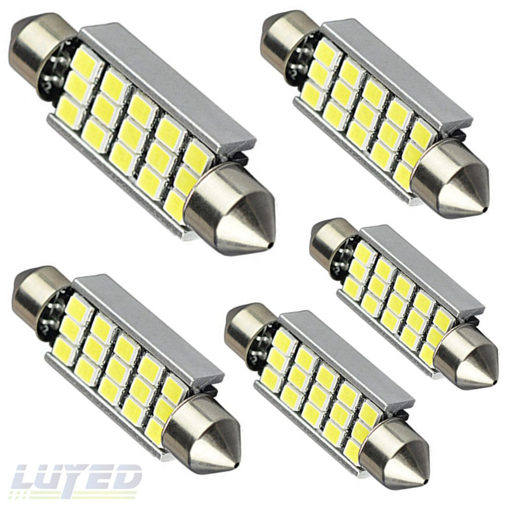 LUYED 5 X 360 Lumens Super Bright 2835 15-EX Chipsets 569 578 211-2 212-2 LED Bulbs Used For Dome light, Xenon White