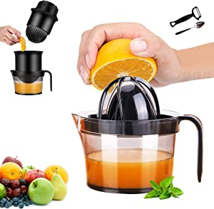 PentaQ Hand Press Juicer, 2 Press Reamer Sets Manual Fruit Squeezer Citrus Lemon Orange Juicer with Built-in Measuring Cup, Free Peeler and Grapefruit Spoon, 17OZ, Transparent Black