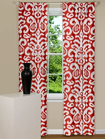 Red Curtains amazon red curtains : Amazon.com: Contempo Curtains Fergana Flame Red Ikat Curtain Panel ...