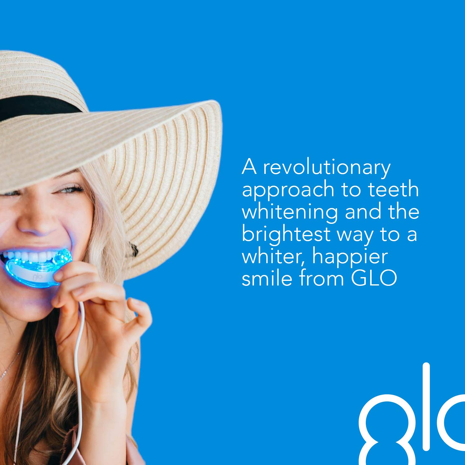 GLO Brilliant Deluxe Teeth Whitening Device Kit with Patented Blue LED Light & Heat Accelerator for Fast, Pain-Free, Long Lasting Results. Clinically Proven. Includes 10 GLO Gel Vials+ Lip Care, WHITE by GLO Science (Image #3)